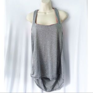 Miss Me Gray Pink Athletic Caged Back Tank Top L